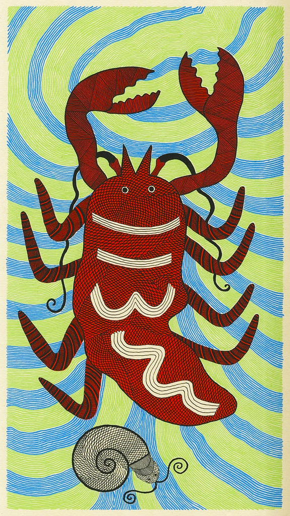 Rambharos Jha. The Lobster. 2011. Screenprint on Handmade Paper.
