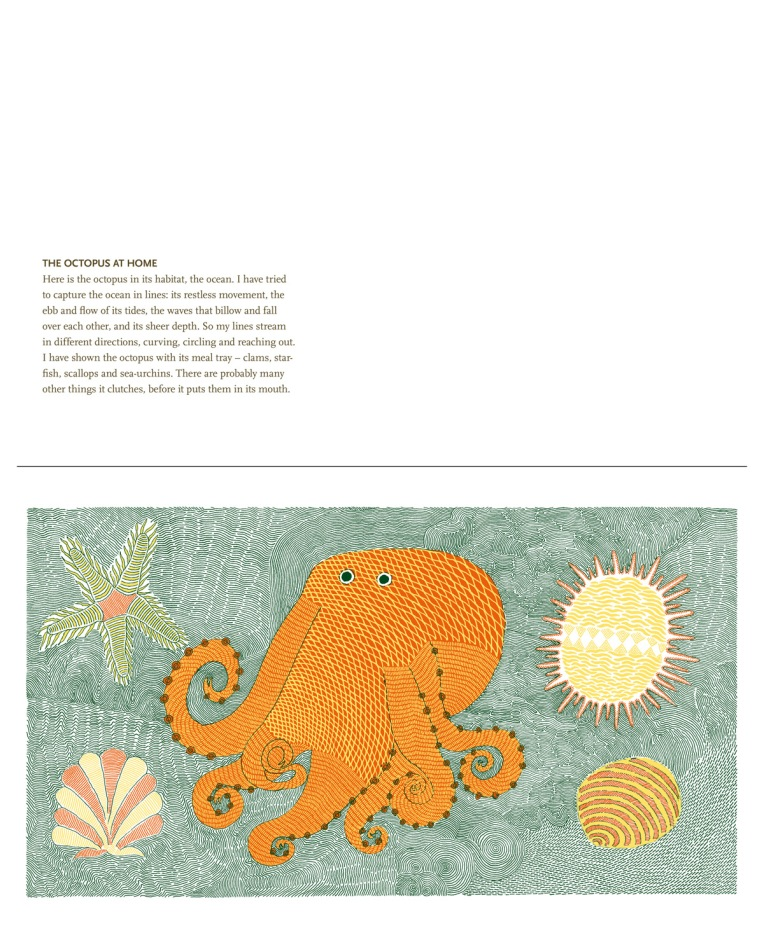 Rambharos Jha. The Octopus at Home. 2011. Screenprint on Handmade Paper.