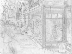 Aditi Raychoudhury. Very Busy Street with Busy Store. 2014. Pencil on Tracing.