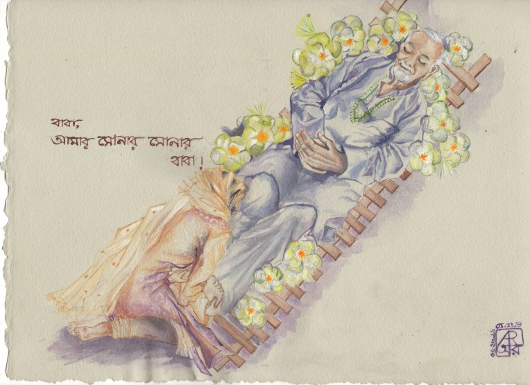 Aditi Raychoudhury. My father readied for cremation as I bid my last goodbye. 2019 . Watercolors and Goauche.