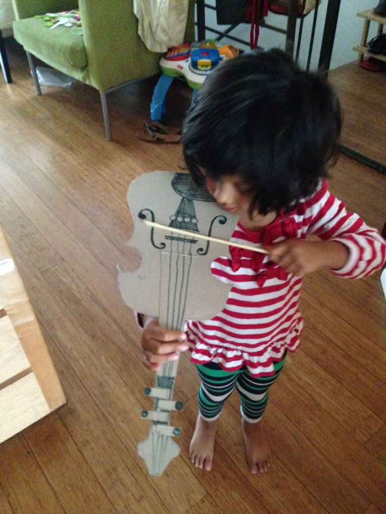 Aditi Raychouhdury. DIY Violin. 2014. Cereal Box, Super glue, Markers.