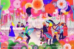Aditi Raychoudhury. A Busy Umbrella Store. 2015. Adobe Illustrator.