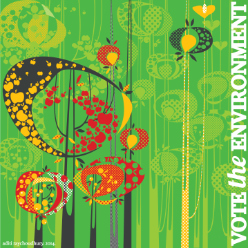Aditi Raychoudhury. Yes on Trees (for Vote the Environment Campaign for Patagonia). 2014. Adobe Illustrator.
