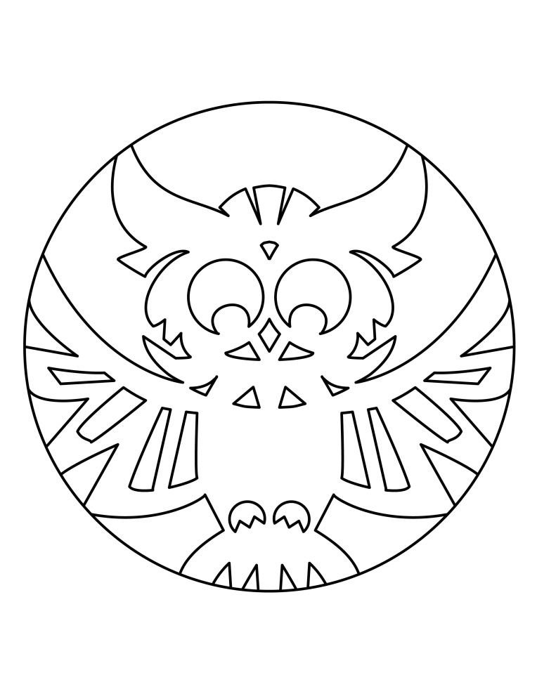 Aditi Raychoudhury. Owl Pumpkin Carving/Coloring Template. 2014. Adobe Illustrator.