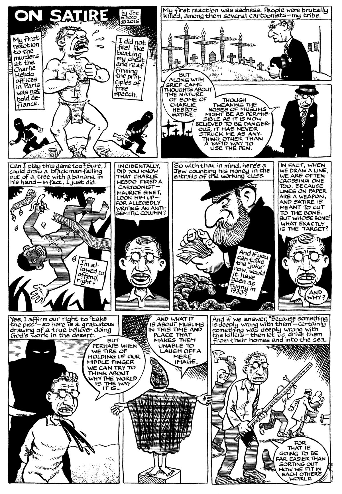 Joe Sacco. Limits of Satire. 2015.