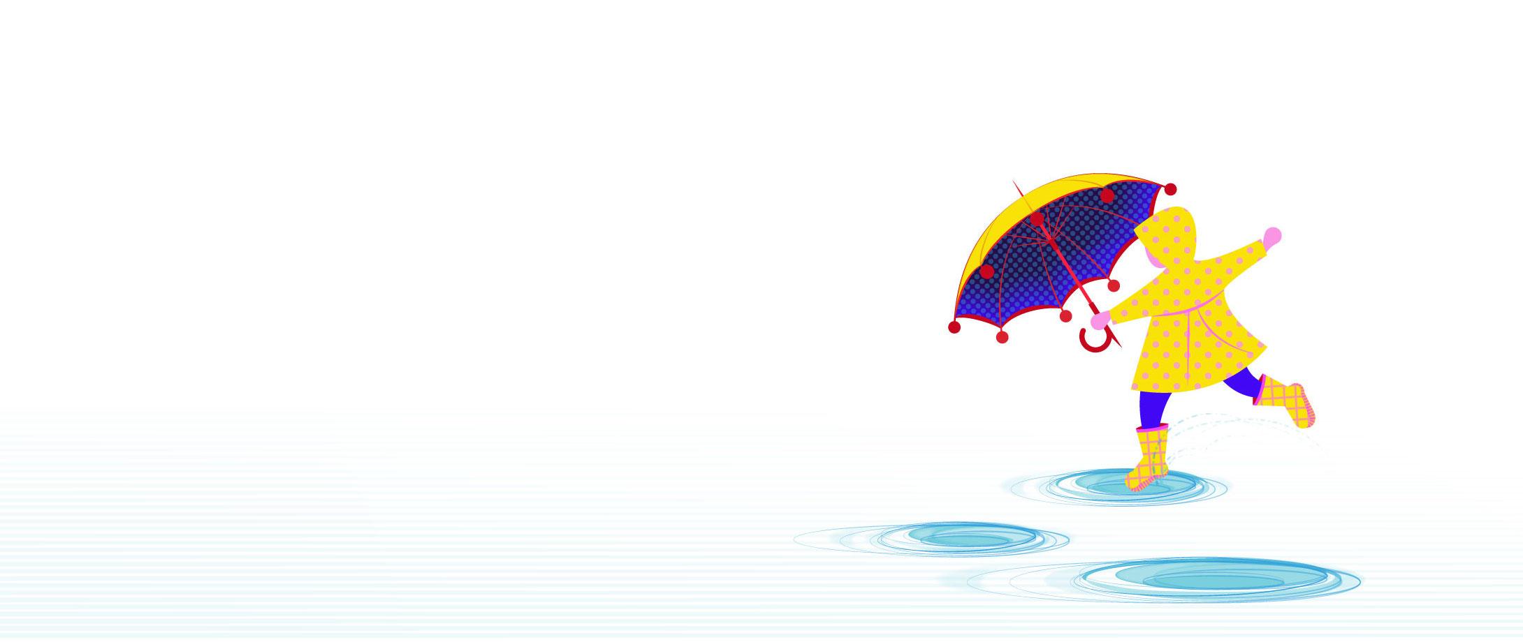 Aditi Raychoudhury. Rain! Rain, Come my way! I want to puddle hop ALL day! 2015. Adobe Illustrator.