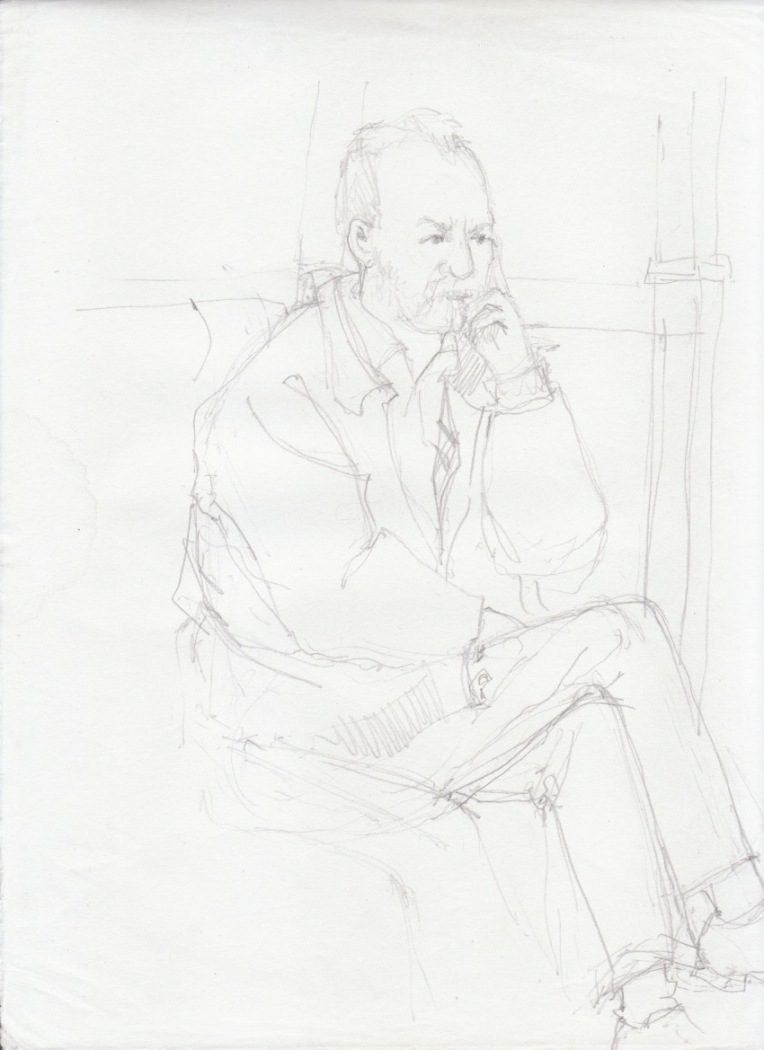 Aditi Raychoudhury. Just Like my Dad. 2000???. Pencil on Xerox Paper.