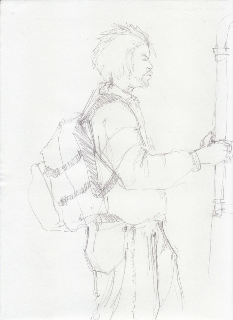 Aditi Raychoudhury. Standing Man. 2000???. Pencil on Xerox Paper.