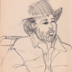 Aditi Raychoudhury. Dapper Man on BART. 2000???. Pencil on Newsprint.