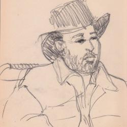 Aditi Raychoudhury. Dapper Man on BART. 2000???. Pencil on Newsprint.