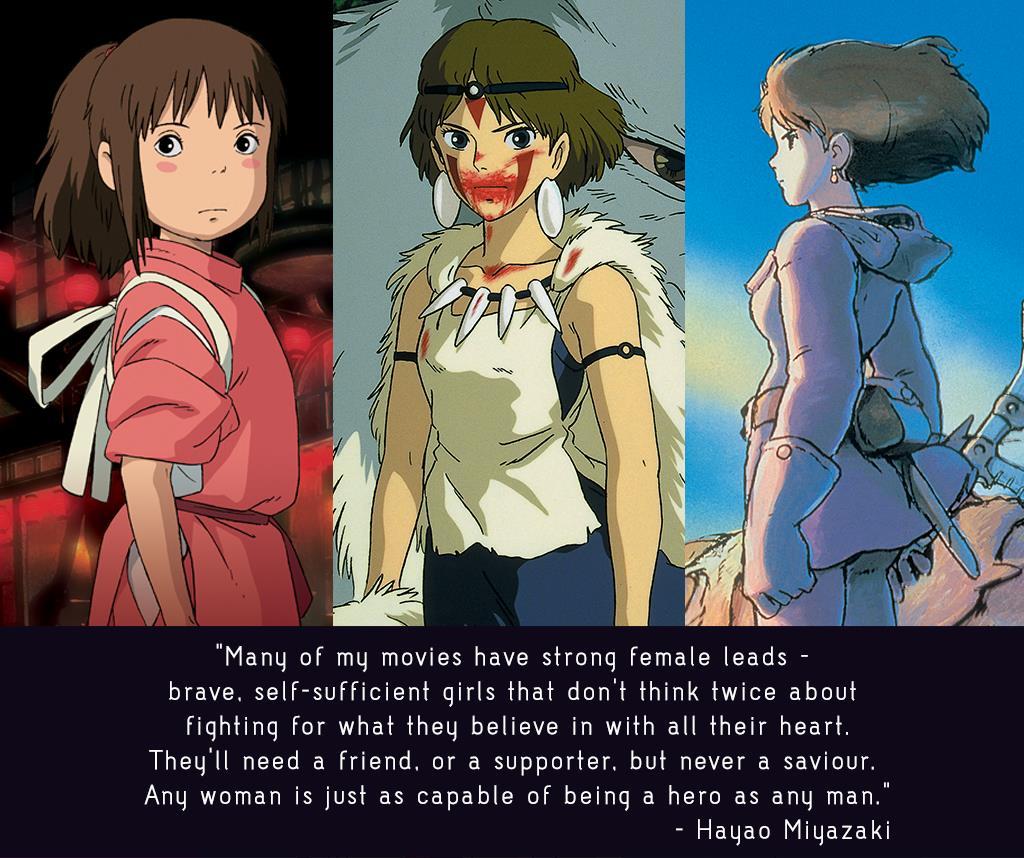 Hayao Miyazaki for Studio Ghibli. Spirited Away, Princess Mononoke, Nausicaa. Animation.