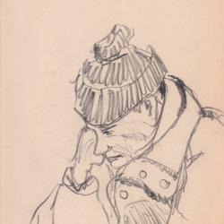 Aditi Raychoudhury. Old Man waiting for BART. 2003???. Pencil on Newsprint.