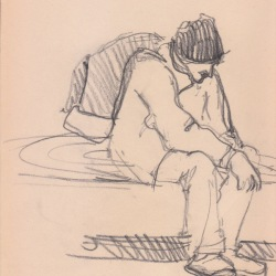 Aditi Raychoudhury. Waiting for BART. 2000???. Pencil on Newsprint.