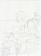 Aditi Raychoudhury. A Good Time to Read. 2000???. Pencil on Xerox Paper.