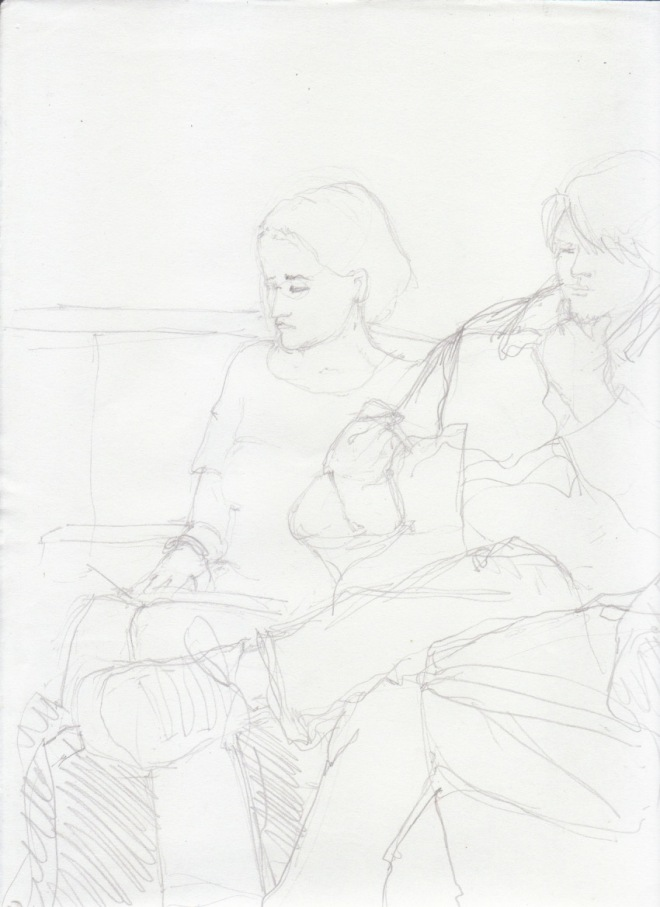 Aditi Raychoudhury. A Good Time to Read. 2000???. Pencil on Xerox Paper.
