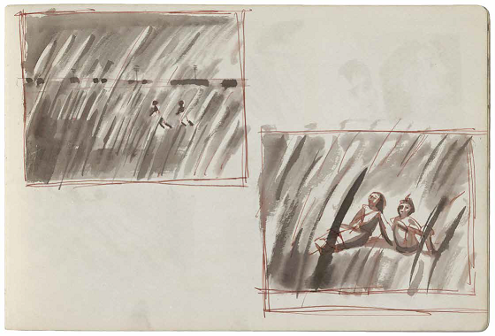 Satyajit Ray. The Iconic Train Scene. Watercolors.