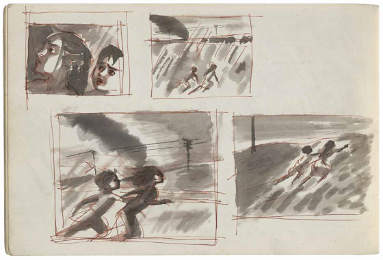 Satyajit Ray. The Iconic Train Scene. Watercolors.