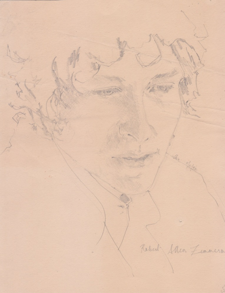 Aditi Raychoudhury. Bob Dylan. 1992. Pencil on Paper.