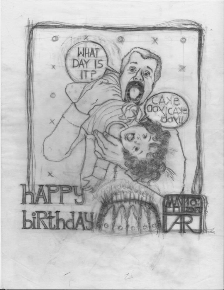 Aditi Raychoudhury. Happy Cake Day. 2017. Pencil Sketch on Tracing.