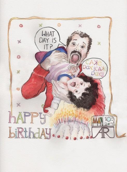 Aditi Raychoudhury. Happy Cake Day. Watercolors. 2017.