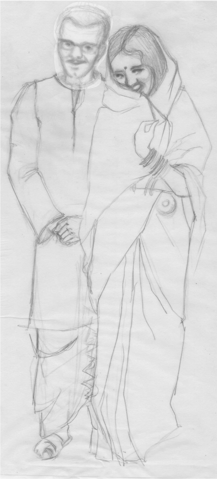 Aditi Raychoudhury. My newly married parents. It was the start of something beautiful. 2017. Pencil on Tracing Paper.