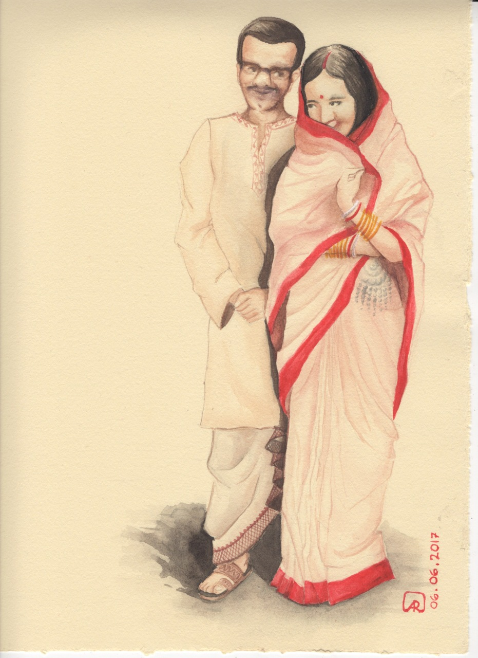 Aditi Raychoudhury. My newly married parents. 2017. Watercolors.