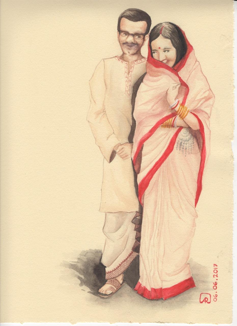 Aditi Raychoudhury. My newly married parents. 2017. Watercolors.
