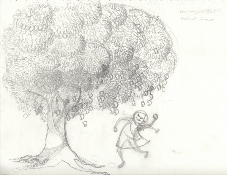 Aditi Raychoudhury. Prep sketch for Snagging a Mango. Pencil on Paper. 2017.