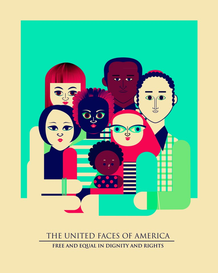The United Faces of America. 2017. Image for 3-color screenprint.