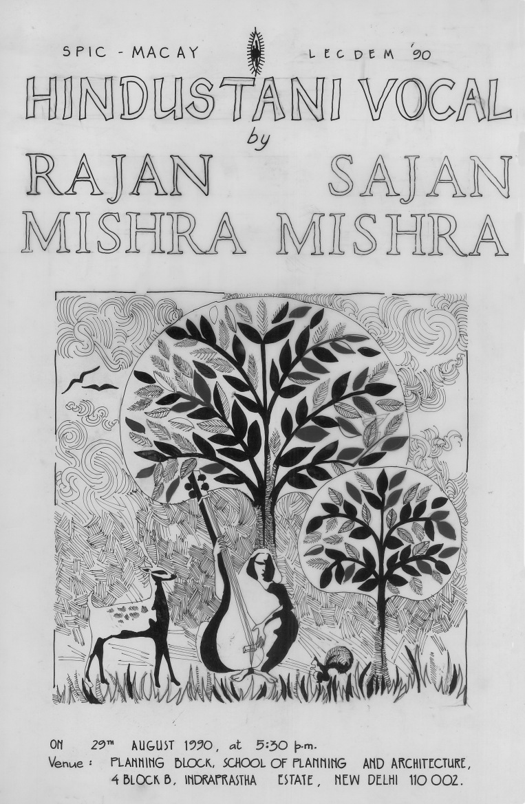 Aditi Raychoudhury. Poster for SPICMACAY, Rajan and Sajan Misra. 1990. Pen and Ink