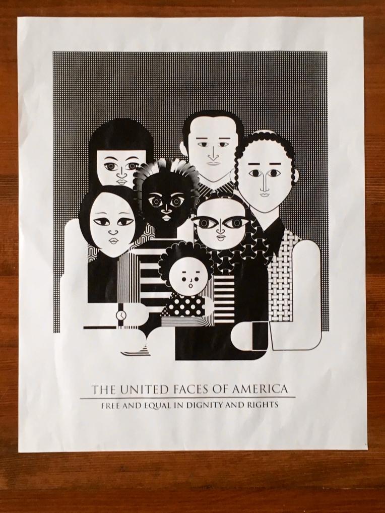 Aditi Raychoudhury. The United Faces of America. 2017. Screen print on newsprint.