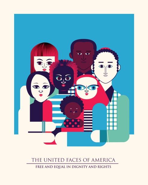 Aditi Raychoudhury. The United Faces of America. 2017. Screen print.