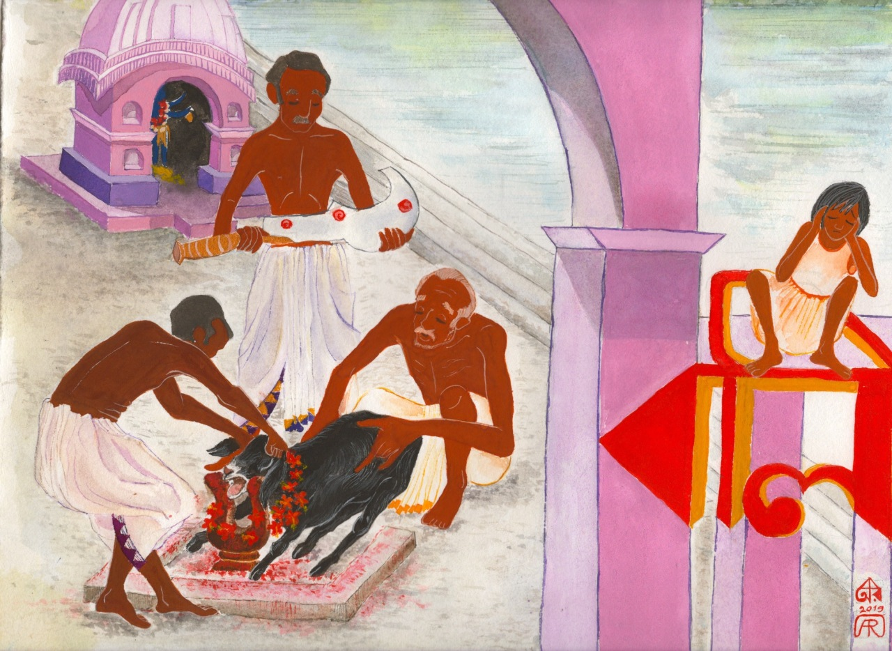 Aditi Raychoudhury. Animal sacrifice. Kali Pujo. 2019. Gouache and Watercolor.