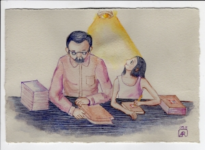 Aditi Raychoudhury. Back to school then and now. Watercolor and gouache. 2018.
